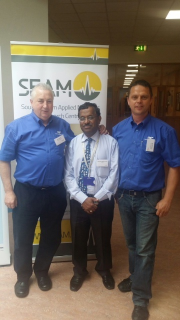 Gerry Neads (Production Manager Mann Engineering) Dr Ramesh Raghavendra (Centre Director SEAM) and Rolf Fuhrmann (Managing Director Mann Engineering)
