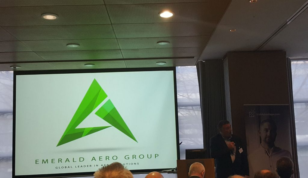 Gerry Reynolds Chairman of the Emerald Aero Group & Managing Director of Takumi Precision speaking at the launch of EAG