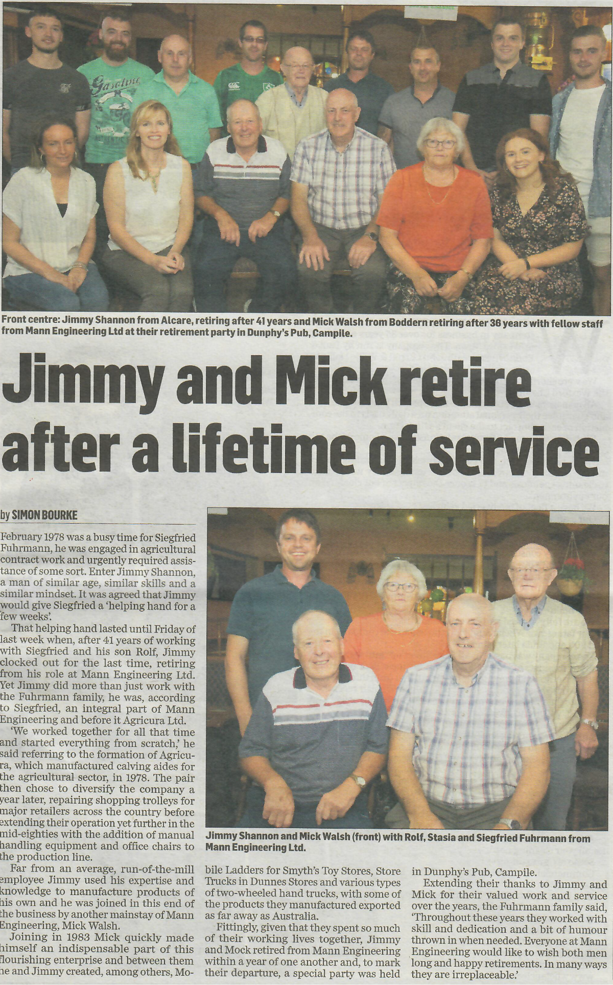 Retirement of Jimmy Shannon & Mick Walsh from Mann Engineering